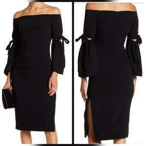 Do + Be Off The Shoulder Tie Sleeve Midi Dress - M